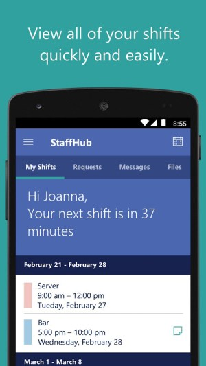 Android Microsoft StaffHub Screen 3