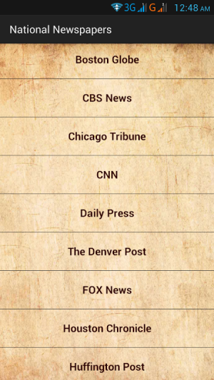 Android US Newspapers and Magazines Screen 1