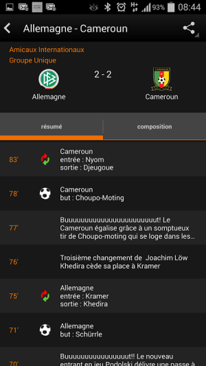 Android Orange Football Club Afrique Screen 4