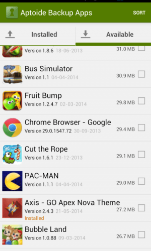 Android Aptoide Backup Apps Screen 3