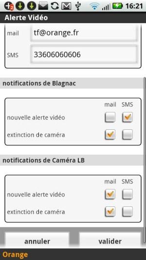Android Alerte vidéo Screen 1