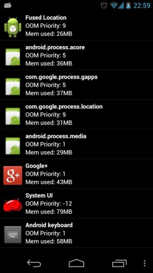 Android Auto Memory Manager Screen 1