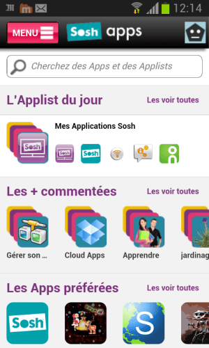 Android Sosh Apps Screen 1