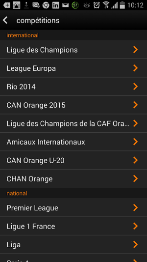 Android Orange Football Club Afrique Screen 5