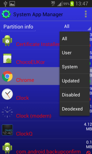 System App Manager 3.1.5 Screen 3