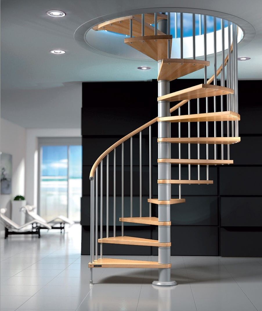 Spiral Staircase Fox Mobirolo Metal Frame Wooden Steps | Used Metal Spiral Staircase For Sale | Stair Parts | Cast Iron | Foshan Demose | Wrought Iron | Stair Case