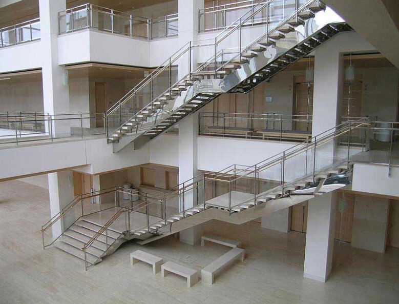 Straight Staircase 24602 Couturier Iron Craft Metal Frame   Commercial Building Staircase Design   Office   Interior   Edgy   Contemporary   Drawing