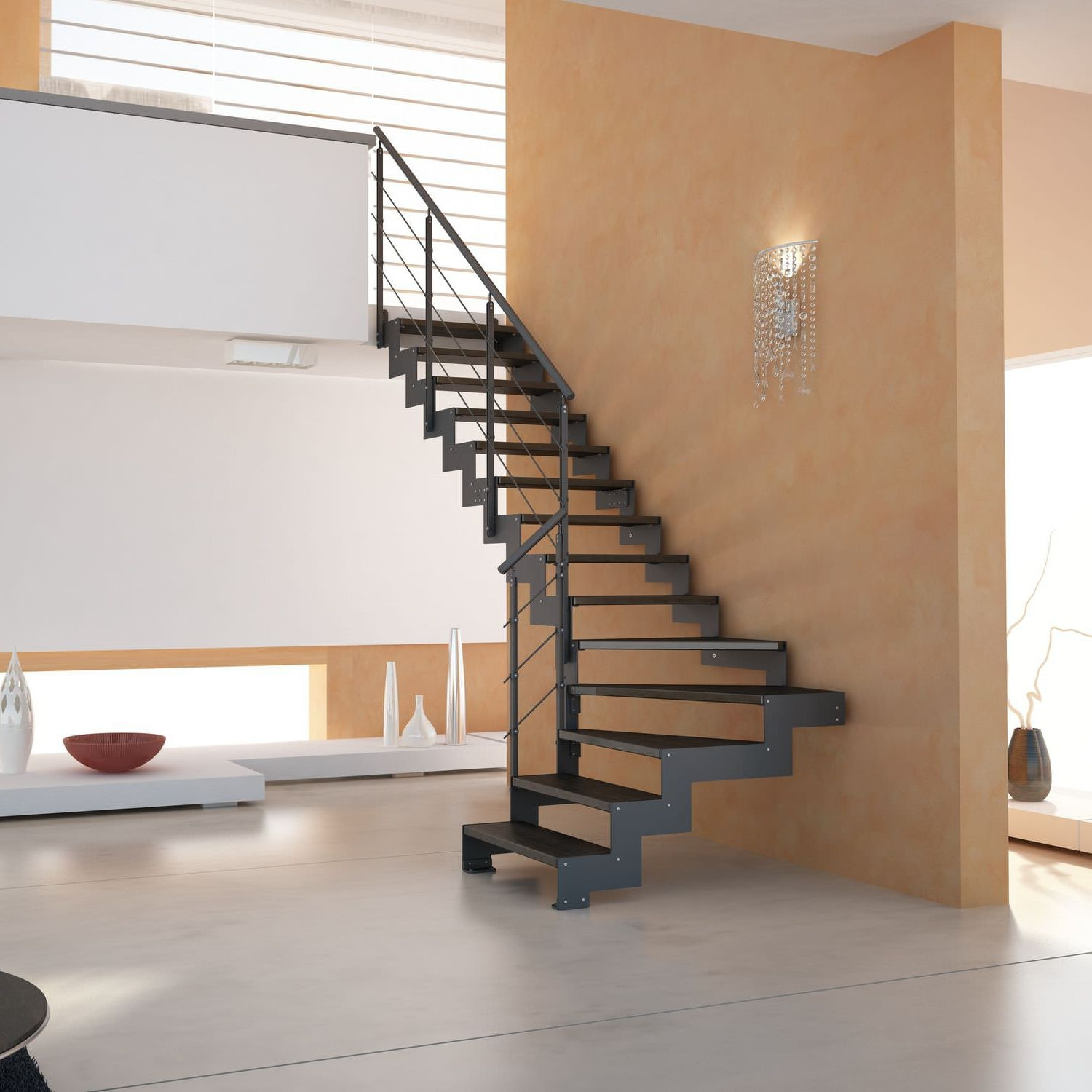Straight Staircase Elegance Link Link Style Cast Design | Iron And Wood Staircase | Traditional | Spiral | White | Internal | Cherry Wood
