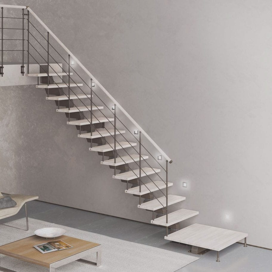 Straight Staircase Elegance Up Tl Cast Design Steel Frame   Steel And Timber Stairs   90 Degree External   Architectural   Modern   Contemporary   House
