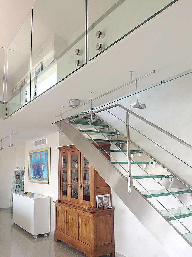 Stainless Steel And Glass Staircase And Glass Railing Glassy | Stainless Steel Glass Staircase | Transparent | Handle | Powder Coated Steel | Open Tread | Black Stained