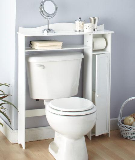 BATHROOM WOODEN OVER-THE-TOILET TABLE SHELF STORAGE-WHITE ...