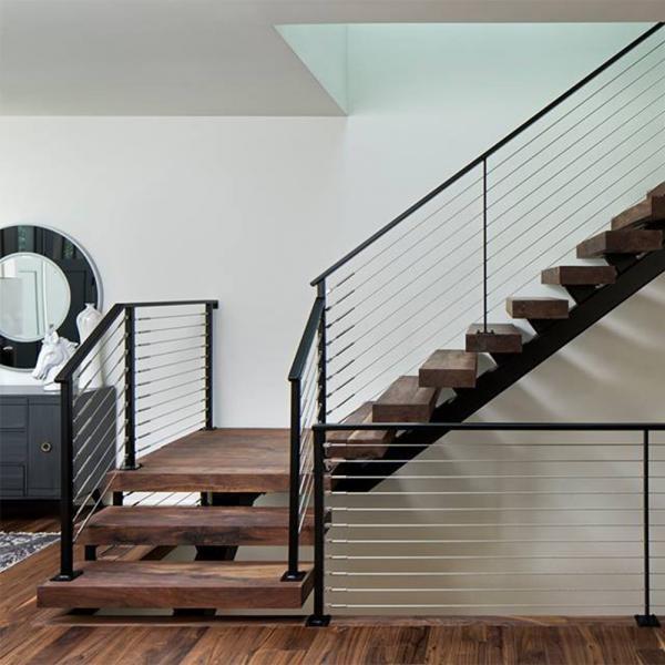 Customized Modern Teak Stair Treads Mono Steel Stringer Wood   Modern Wood Stair Treads   Country Style   Box   Square Edge   Eased   Open Riser
