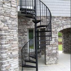 Exterior Stainless Steel Spiral Staircase Design Prefabricated | Outdoor Steel Staircase Design | Steel Framed Exterior | Indoor | Vertical Wire Balustrade | Prefabricated Steel | Stair Handrail
