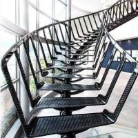Unique Design Dark Color Steel Centre Mono Stringer Curved Stairs | Steel Stairs For Sale | Spiral | Indoor | Interior | Cantilever | Straight