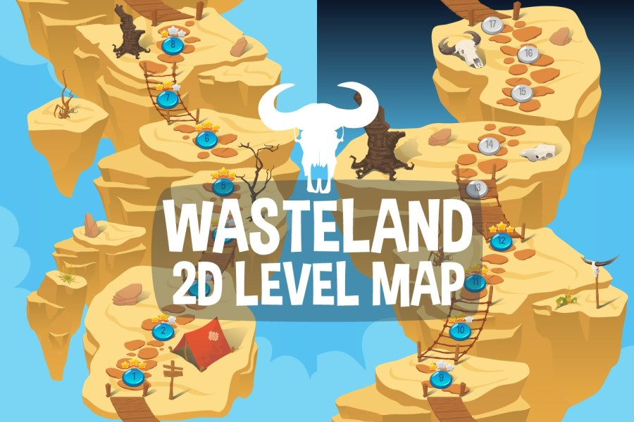 Wasteland Level Map 2D Backgrounds   CraftPix net Wasteland Level Map 2D Backgrounds