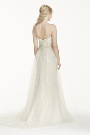 Strapless Tulle Over Lace Sheath Wedding Dress   David s Bridal Mouse over to zoom