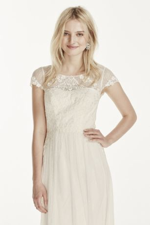 Cap Sleeve Tulle Sheath with Lace Applique   David s Bridal Save