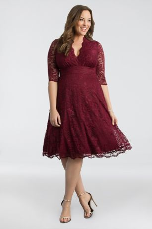 Mother of the Bride Sale   Discount Dresses   David s Bridal 3 4 Sleeved Soft A Line Lace Plus Size Dress