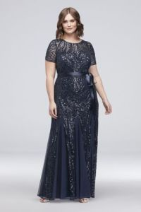 Plus Size Mother of the Brides Dresses   David s Bridal Long Mermaid  Trumpet Short Sleeves Formal Dresses Dress   RM Richards