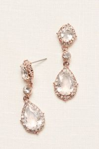 Wedding Dress Accessories   Bridal Accessories   David s Bridal Filigree and Crystal Drop Earrings