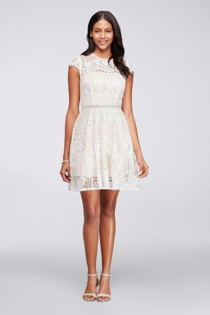 Short Cap Sleeve Lace Dress with Beaded Waist   David s Bridal