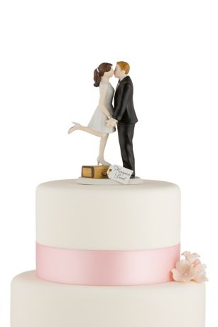 Wedding Cake Toppers   David s Bridal Personalized A Kiss And We re Off Cake Topper