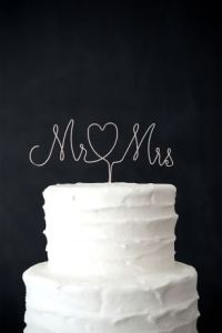 Wedding Cake Toppers   David s Bridal Mr  and Mrs  Wire Cake Topper