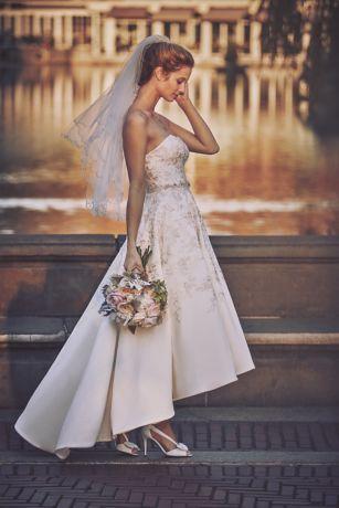 Embroidered Satin High Low Wedding Dress David S Bridal