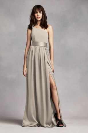 One Shoulder Dress with Sash   David s Bridal Long Sheath Simple Wedding Dress   White by Vera Wang