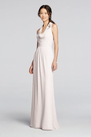 Long Chiffon Dress with Front Cowl Neckline   David s Bridal Long Red Soft   Flowy David s Bridal Bridesmaid Dress
