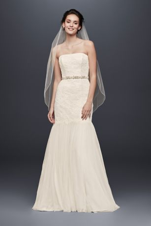 Strapless Lace Trumpet with Tulle Skirt   David s Bridal KP3765  Long Mermaid  Trumpet Beach Wedding Dress   Galina