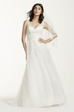 Tulle A Line Wedding Dress with Floral Lace   David s Bridal Save