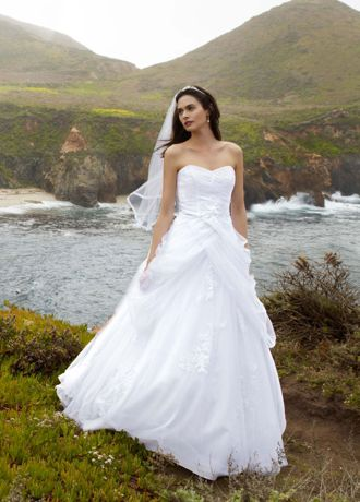 Tulle Ball Gown With Lace Up Back And Side Swags David S