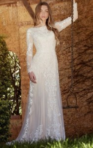 Affordable Lds Bridals Dresses  Cheap Wedding Dress for Lds   Dorris     Sheath Long Sleeve High Neck Tulle Lace Wedding Dress With Sweep Train