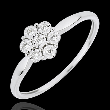 Bague Solitaire Fraicheur   Fleur de Flocon   7 diamants   or blanc     Bague Solitaire Fraicheur   Fleur de Flocon   7 diamants   or blanc 18  carats