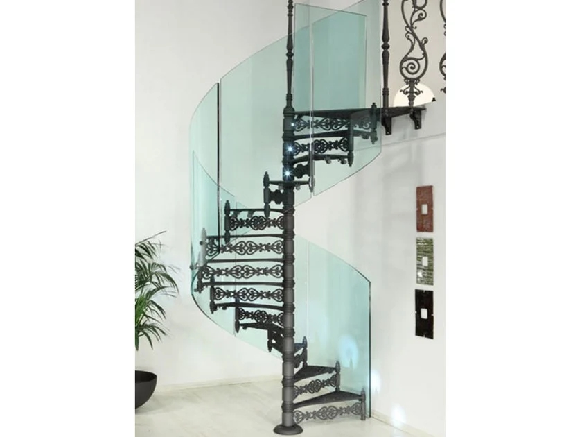 2070 Glass Spiral Staircase By Modus | Iron Shop Spiral Stairs | Attic Loft | Victorian | Loft Staircase | Elk Grove | Staircase Kits