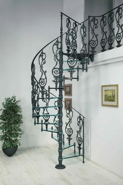 2072 Glass Spiral Staircase By Modus   Cast Iron Spiral Staircase   Modern   Traditional   Stair Case   Kitchen   Railing