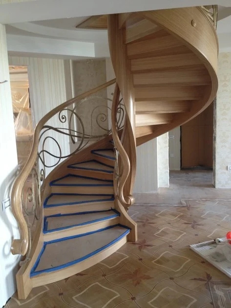 Baku Wooden Spiral Staircase By Siller Treppen | Wooden Spiral Staircase For Sale | Solid Wood | 36 Inch Diameter | Unique | Curved | Closed Riser