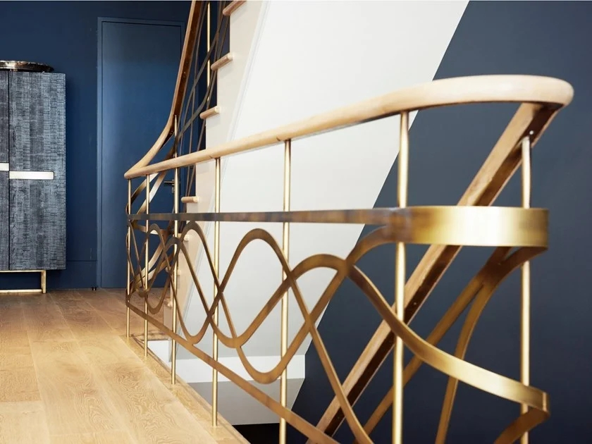 Metal Stair Railing Brass Balustrade By Officine Sandrini | Brass Handrails For Stairs | Aluminum | Classic | Medallion | Cantilevered Spiral Stair | Wrought Iron Railing