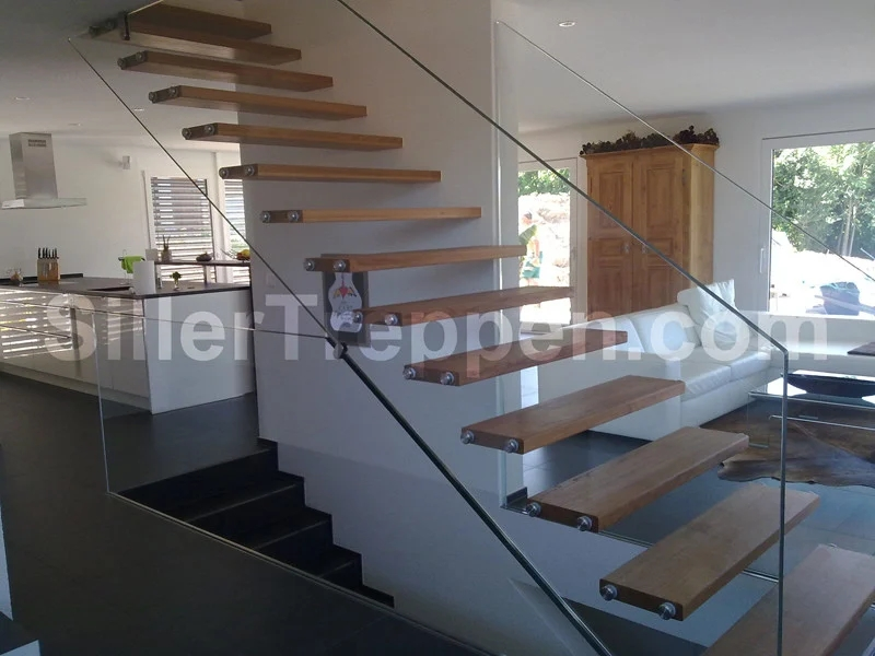 Self Supporting Wooden Open Staircase Mistral Extra White   White And Glass Staircase   Step   Before And After   Handrail   Stained   Oak