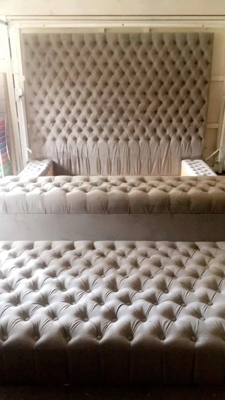 Diamond Tufted Oversized Bed With Storage Bench And Ottoman