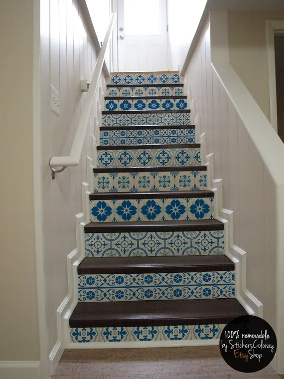 10 Step Stair Riser Decal White And Blue Decorative Tiles   Stair Riser Tiles Designs