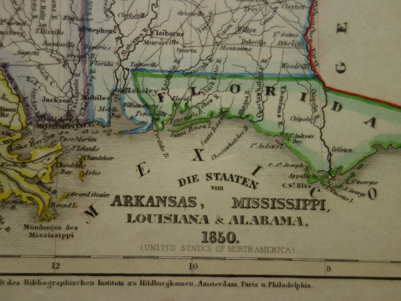 LOUISIANA old map 1850 original hand colored antique print of         zoom