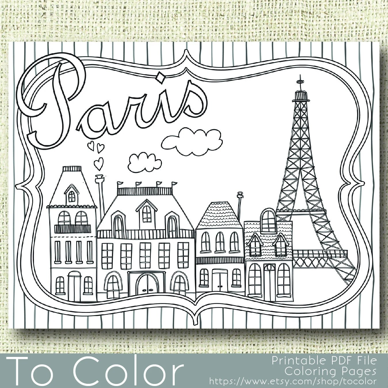 Printable Paris Coloring Page For Adults Pdf Instant