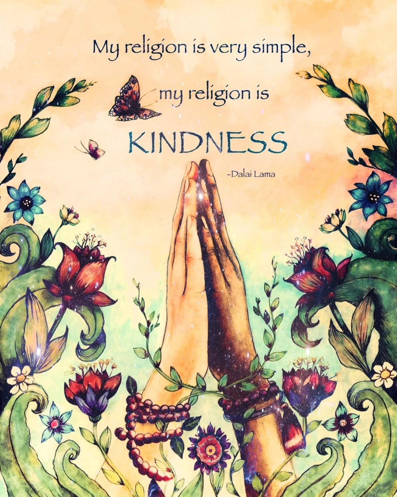 My religion is simple..Dalai Lama yoga meditation decor art