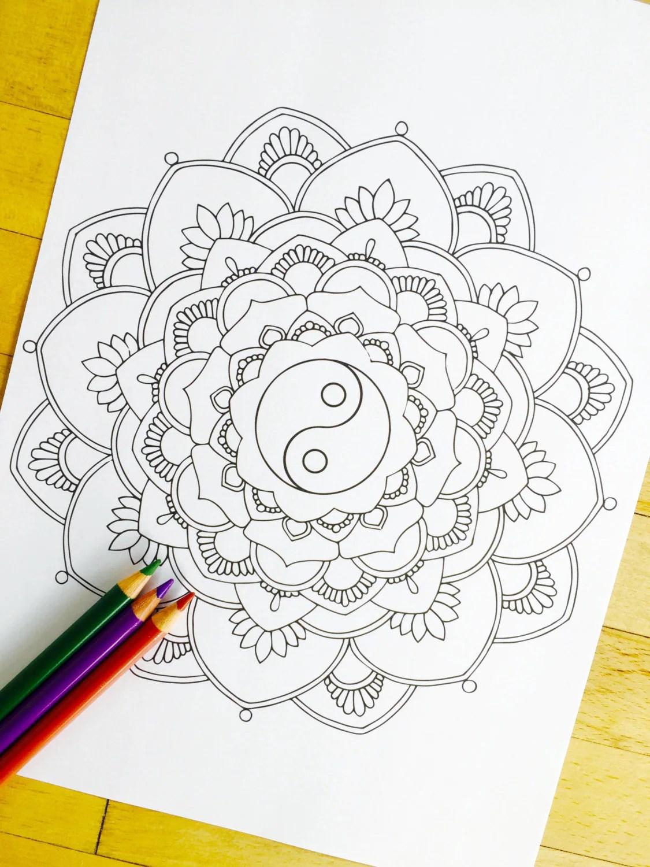 Mandala Yin Yang Hand Drawn Adult Coloring Page
