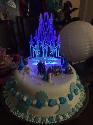 Frozen Castle Inspired Cake Topper Personalized With Led