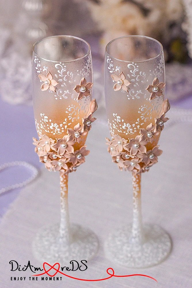 Toasting Flutes NEUTRAL WEDDING COLOR champagne glasses