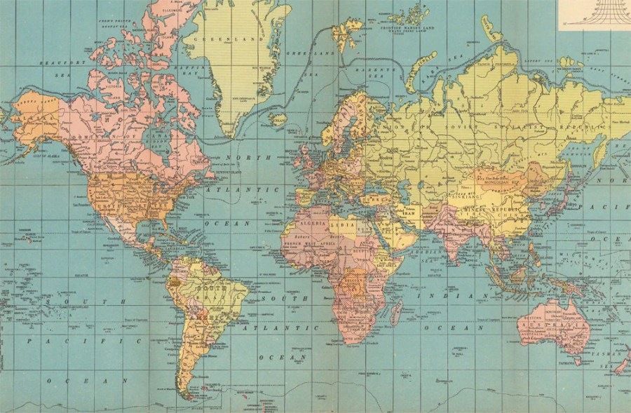 World map printable digital download  1930 Vintage World Map          zoom