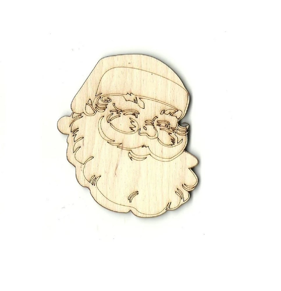 Santa Claus Laser Cut Out Unfinished Wood Shape Craft Supply